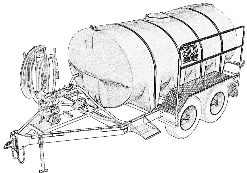 1600 Gallon D.O.T. Water TrailerLine Drawing
