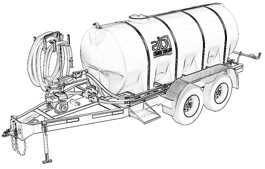 1000 Gallon D.O.T. Water TrailerLine Drawing